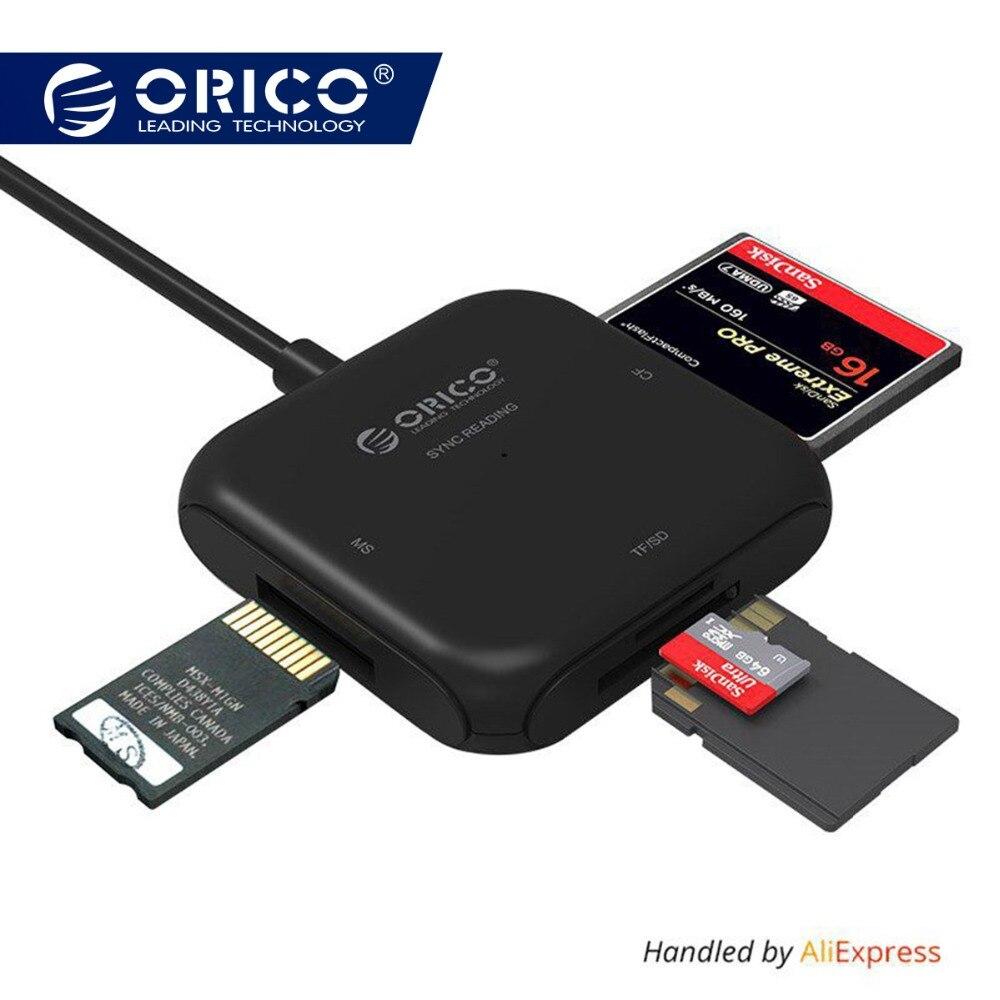 ORICO 4 en 1 USB 3.0 Lector de Tarjetas Inteligentes de Flash Multi Lector de Tarjetas de Memoria para la tarjeta de TF/SD/MS/CF 4 Tarjeta de Leer y Escribir Al Mismo Tiempo