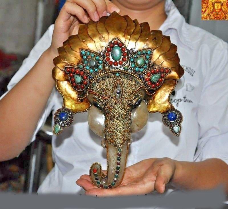 10 un Gran Dragón Encantos de Plata Tibetana