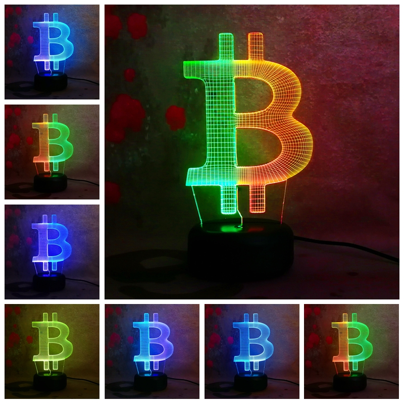 Amroe New Custom Double Color 3D Bitcoin IR Chrismas gift Change Night Light LED Bedroom Illusion Desk Decor Lamp Child Toy Gift
