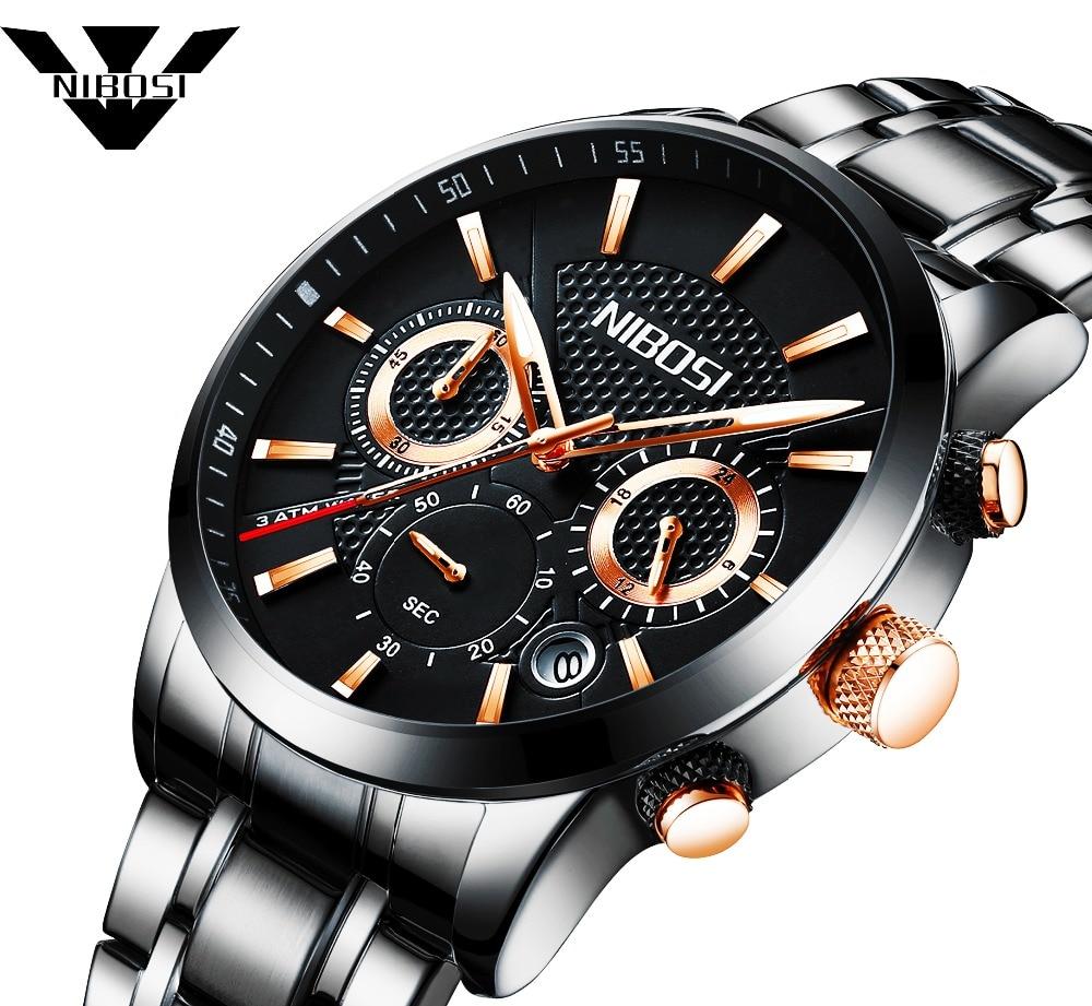 купить NIBOSI Watch Men Fashion Sport Quartz Clock Mens Watches Brand Luxury Full Steel Waterproof Business Watches Relogio Masculino по цене 1092.04 рублей
