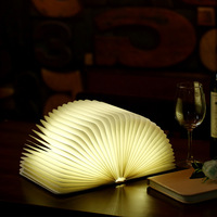 Led Book Shape Night Light Fold Pages Lighting Portable Booklight Usb Rechargeable Creative Wooden Foldable