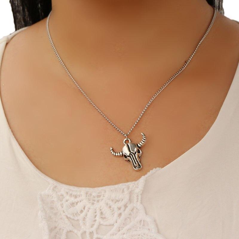 1PCS Men And Women Fashion Jewelry Long Choker Necklace Human Skeleton Cattle Tau Shape Pendant Necklace Chain