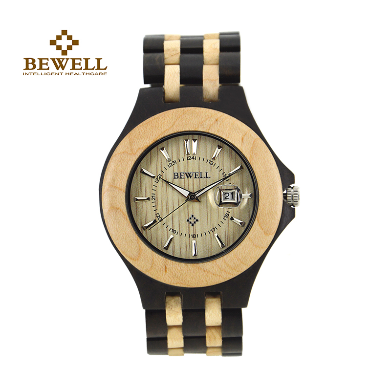 где купить BEWELL W080A Mens Wood Wooden Watches Top Brand Luxury Date Quartz Wristwatch with Fold the Strap Wood Band in Gift Paper Box по лучшей цене