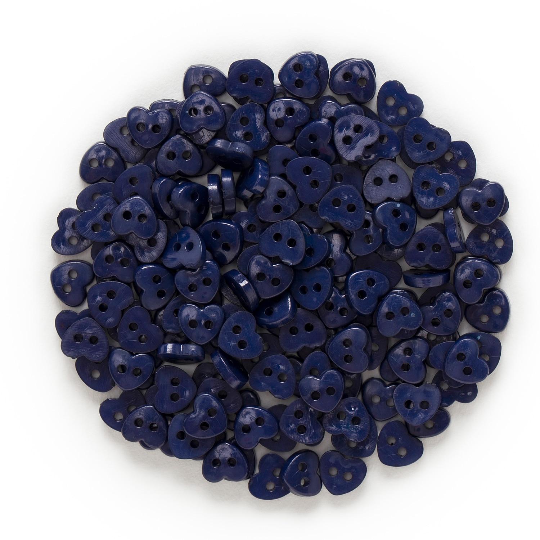 6 мм 100 шт многоцветные одноцветные дополнительные 2 отверстия мини сердце смолы кнопки для шитья скрапбукинга декоративные открытки для рукоделия - Цвет: Dark Blue