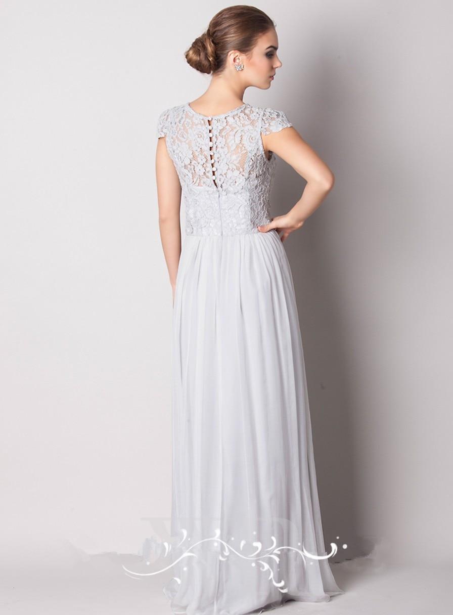 2016 Lace Scoop Sheer Cap Sleeve Long Prom Party Dresses Vestido De Festa Longo Bridemaid Dresses Chiffon MK 162 in Bridesmaid Dresses from Weddings Events