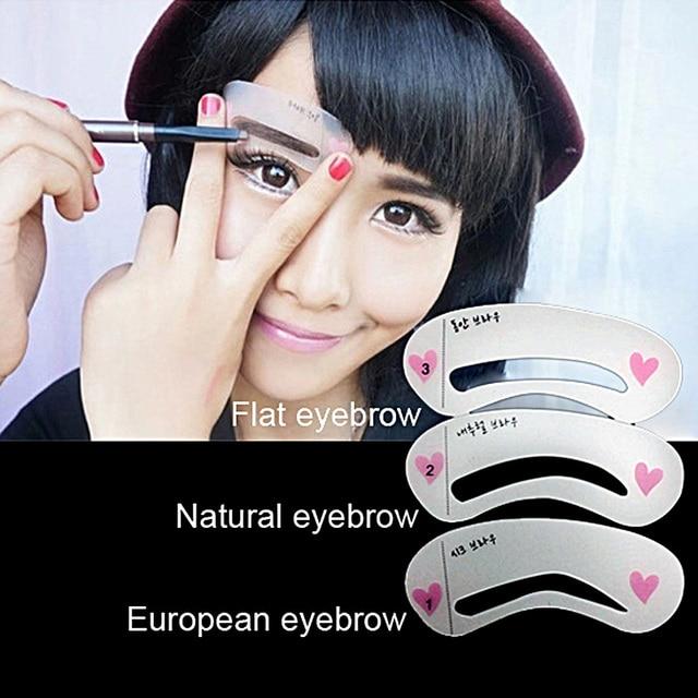 3Pcs/set Eyebrow Stencils 3types Reusable Eyebrow Drawing Guide Card Brow Template DIY Make Up Tools