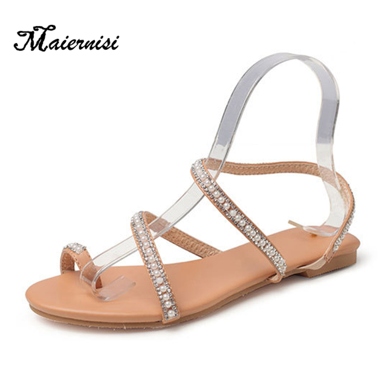 MAIERNISI Slippers Flat Sandals Woman Jelly-Shoes Bling Big-Size Fashion Summer