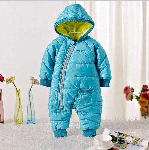 Зима малышей мальчики комбинезон балахон Асимметричная молния хлопок младенческая мальчики snowsuit