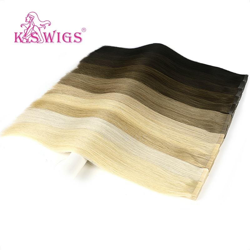 K.S WIGS 100pcs/pack Remy Luxury Tape In Human Hair Straight Invisible Skin Weft Human Hair Extensions 20'' 2.5g/pc
