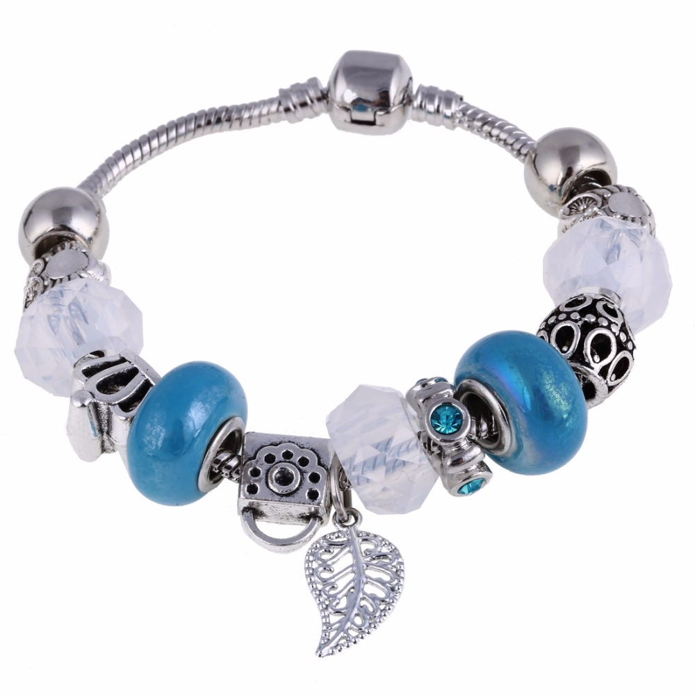 Free Shipping Women Friendship Charm Bracelets European Style Silver  Crystal Blue Beads Fit Snake Chain Jewelry