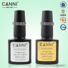 CANNI Gel Polish Soak Off UV Top Coat + Base Coat Gel Polish Long-lasting 7.3ml Nail Gel Lacquer  No Wipe No Cleaning Needed UV