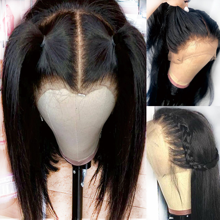 13x6 Glueless Lace Front Human Hair Wigs For Black Women Pre Plucked Brazilian Straight Lace Wig
