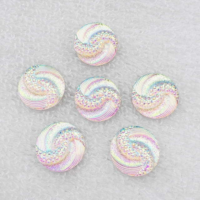 20mm 20 pièces AB résine strass résine cristaux rond flatback pierre perles bricolage Scrapbooking mariage artisanat-HB06