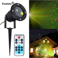 Tanbaby New Year Fairy Laser Landscape Lights with Remote Projector Outdoor LED Red Green Star Motion Shower Projection Lighting