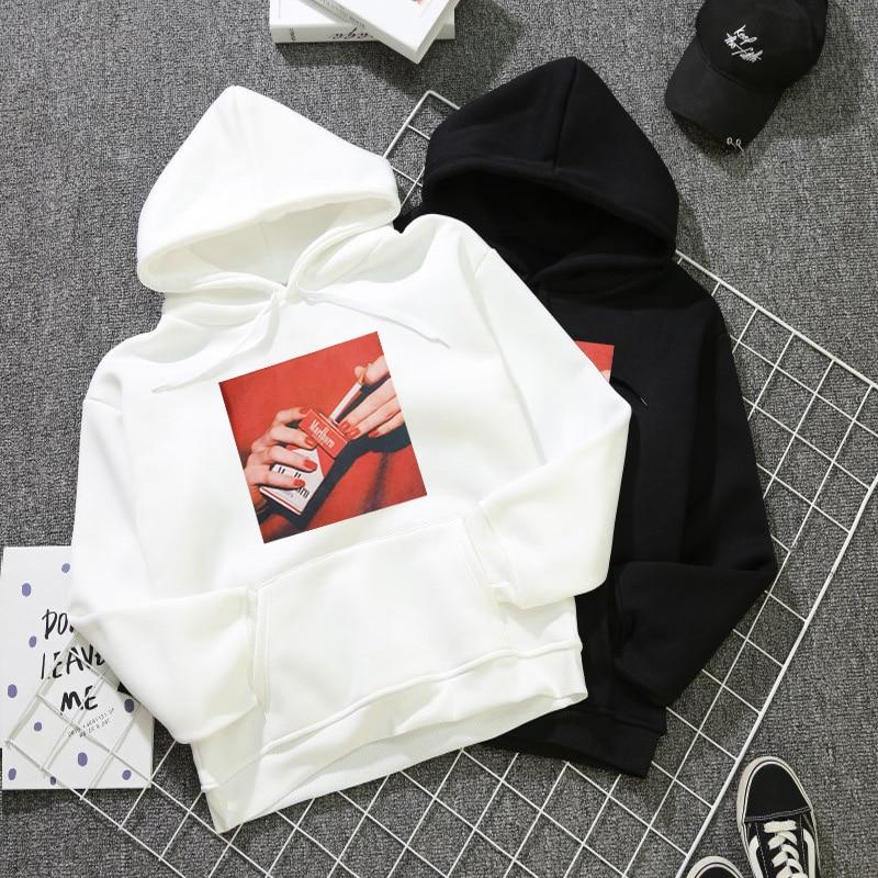 Women's Pullover Kawaii White Oversized Hoodie Tops Female New Winter Hooded Sweatshirt Woman Harajuku Fashion Smokes Singlet
