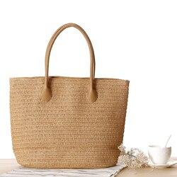 Nouveau mode femmes paille tissé sac à main de haute qualité bohême plage fourre-tout sac dames sac à provisions sac a main femme de marque
