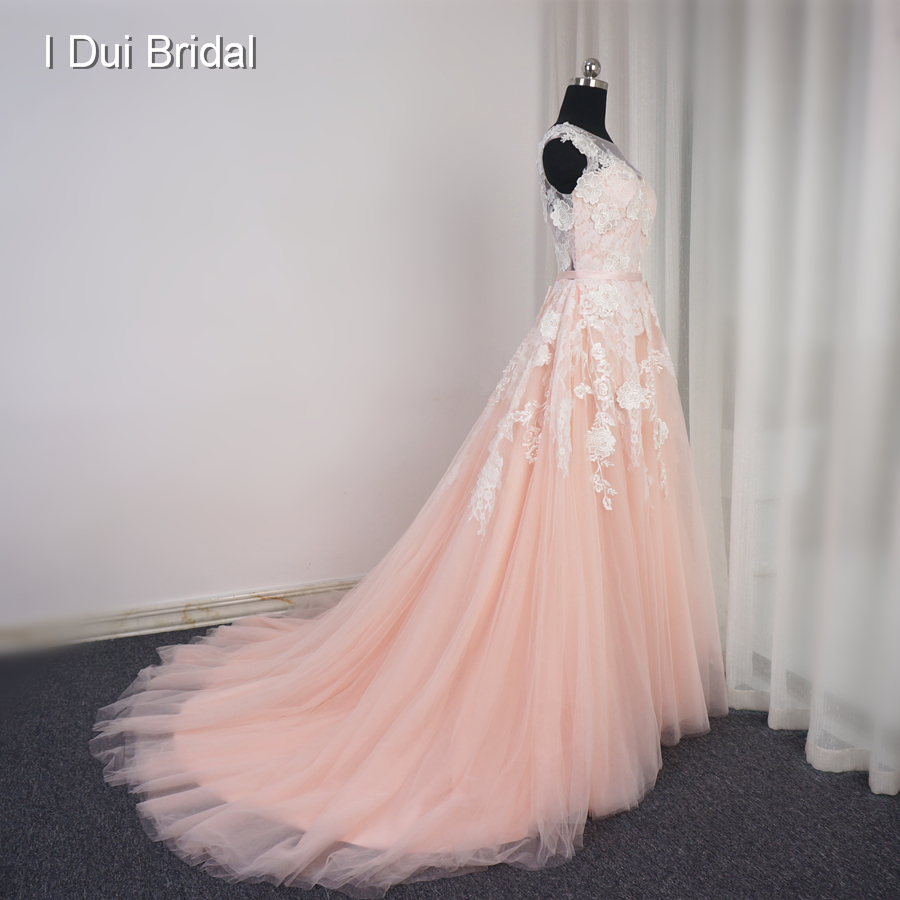 Vestido De Noiva Sleeveless Blush Wedding Dress Court Train Real ...