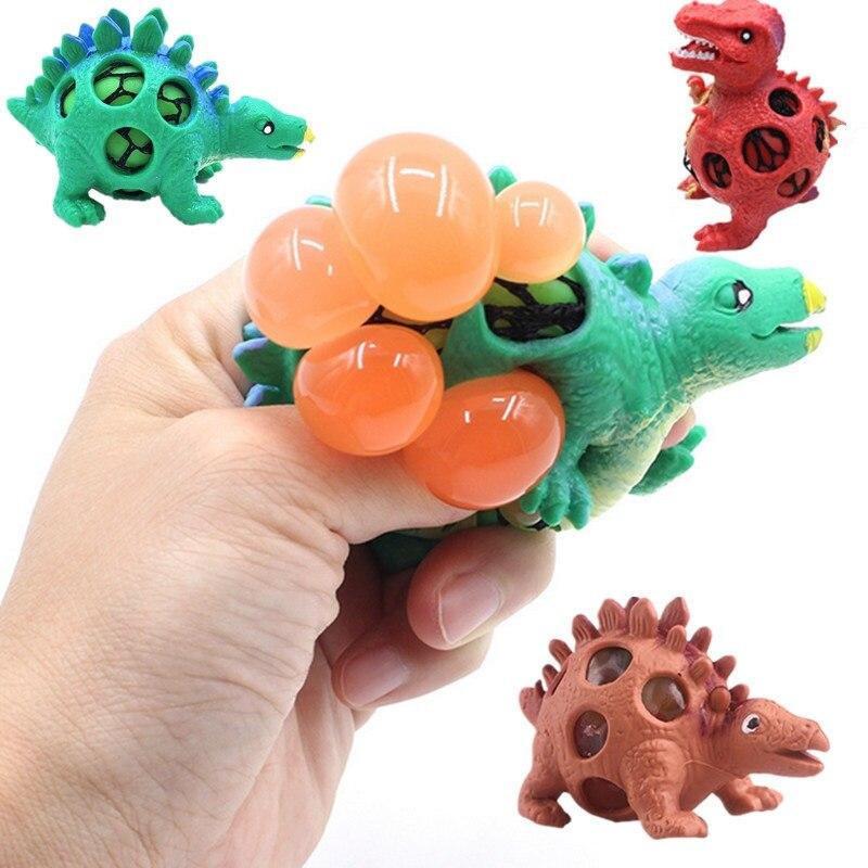 Dropshipping Dinosaur Squishy Mesh Ball Grape Squeeze Relief Fidget Autism Stress Toys Anti Stress Dinosaur Grape Ball Kids Toys