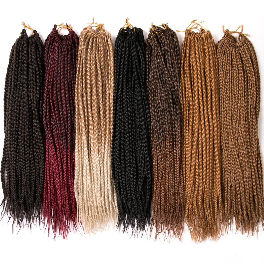 VERVES Medium Box Braids 14 Inch And 18 Inch Braiding Hair Crochet Braids 22 Strands/pack Hair Extensions Bug,brown