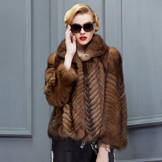 100% authentic be4c3 3de49 US $99999.0 |Genuine pelliccia di visone cappotto donne giacca di pelliccia  di lusso Russia visone zibellino martora reale cappotti di pelliccia di ...