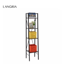 LANGRIA 4-Tier Shelves Ladder Bookcase Storage and Display Standing Shelving Unit LADDER BOOKCASE BLACK SMALL