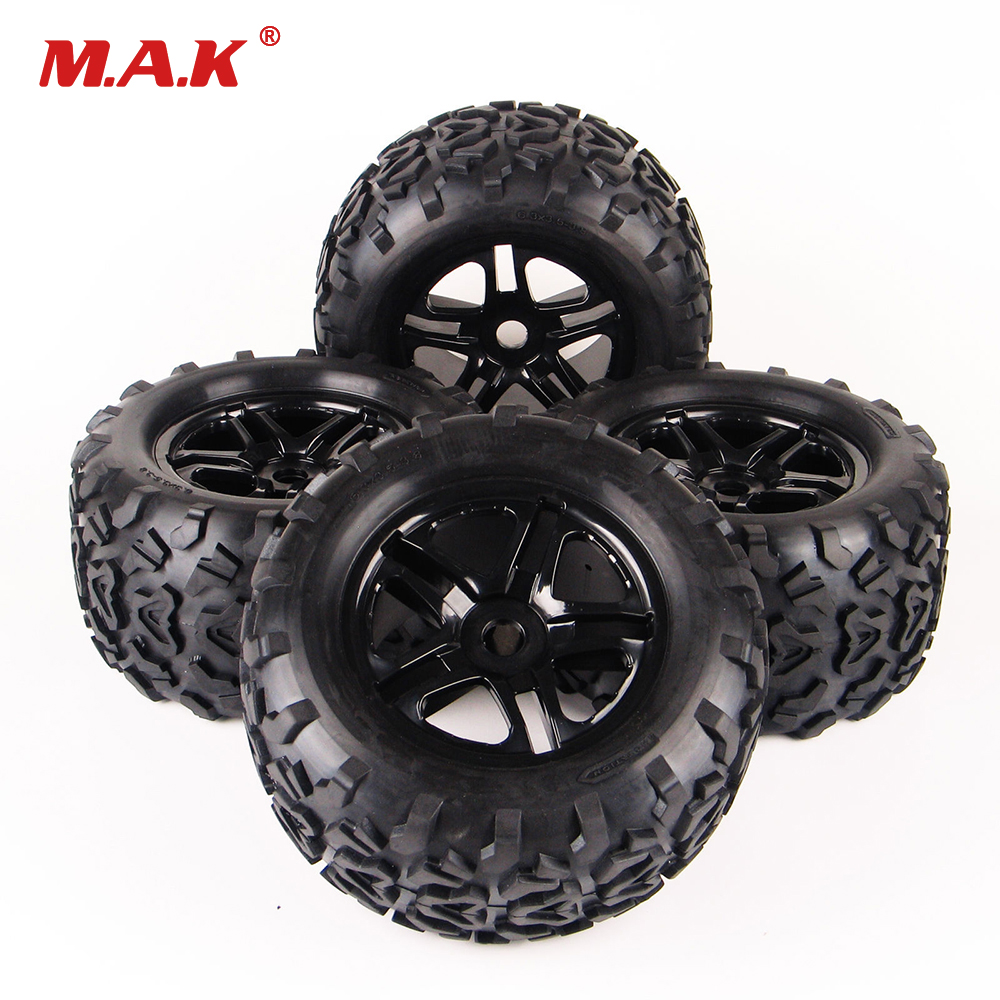 цены 4Pcs/Set 17mm HEX RC Car Off Road 1:8 Tires Rubber Tyre Rim Wheel Set For Monster Truck Bigfoot TRAXXAS Summit HPI