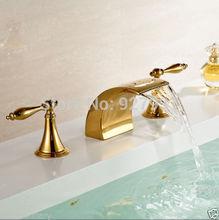 Современный Дизайн Двойной Ручки Водопад 3 шт. Бассейна Мойки Смесители На Бортике Три Отверстия Горячей и Холодной Ванной Кран набор