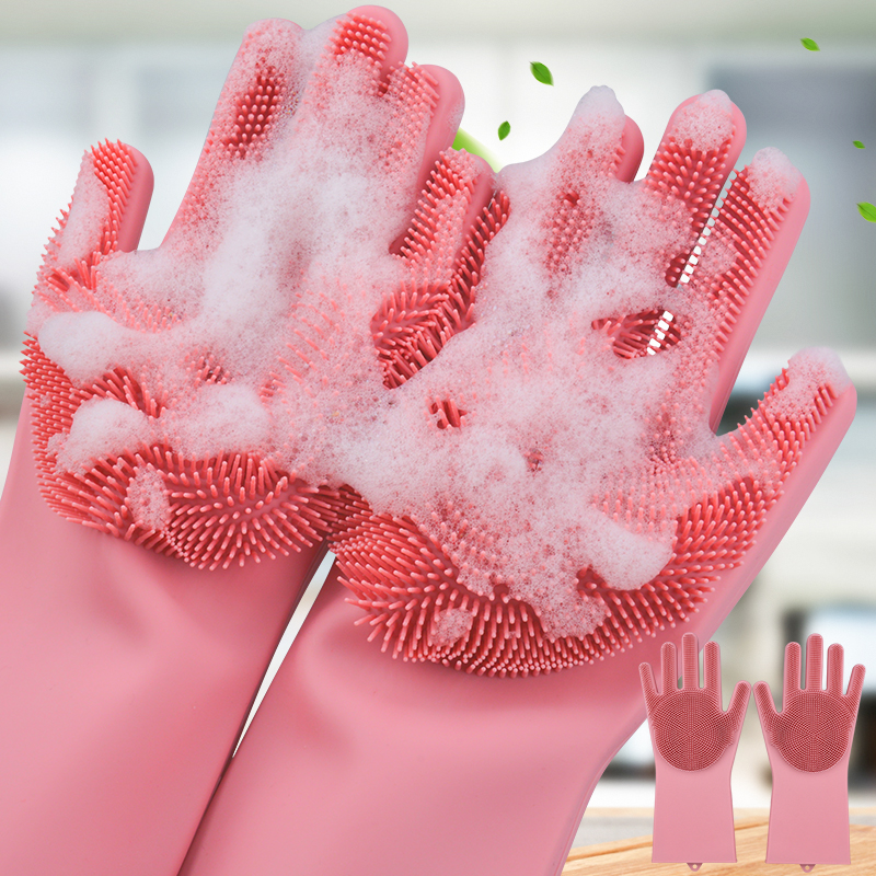 Silicone Dishwashing Gloves Bathroom Kitchen Cleaning Gloves Housework Magic Gloves Cleaning For House Insulation Tools 1