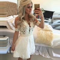 Elegant White Jewel Neck Short Homecoming Dresses 2017 Short Sleeve See Through Lace Prom Gowns 8Th Grade Graduation Dresses