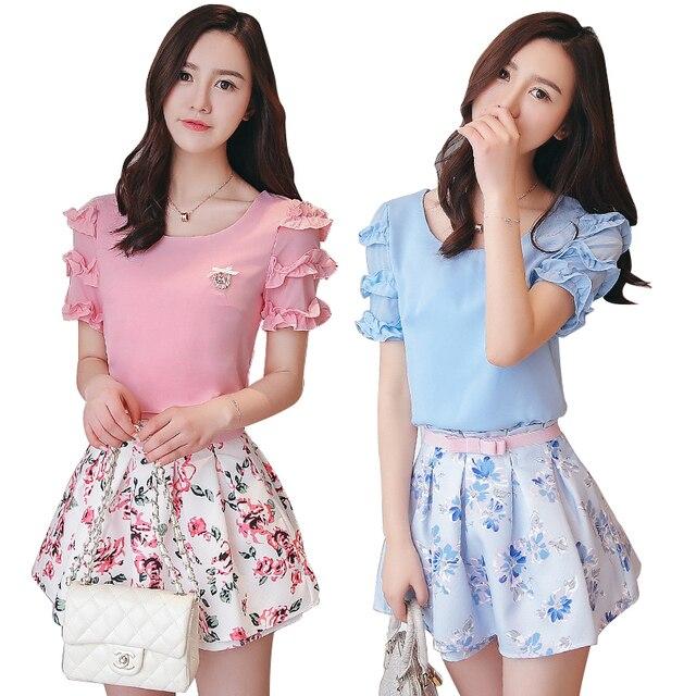 441e7d220fa7b Verano 2016 mujeres conjuntos de ropa moda flor imprimir Top para mujer y  faldas conjuntos 2