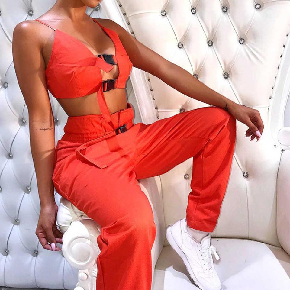 Оранжевый тренировочный костюм с поясом Пряжка из двух частей комплект Zweiteiler Damen уличную одежду хип-хоп наряд Для женщин летние без рукавов Жилеты набор