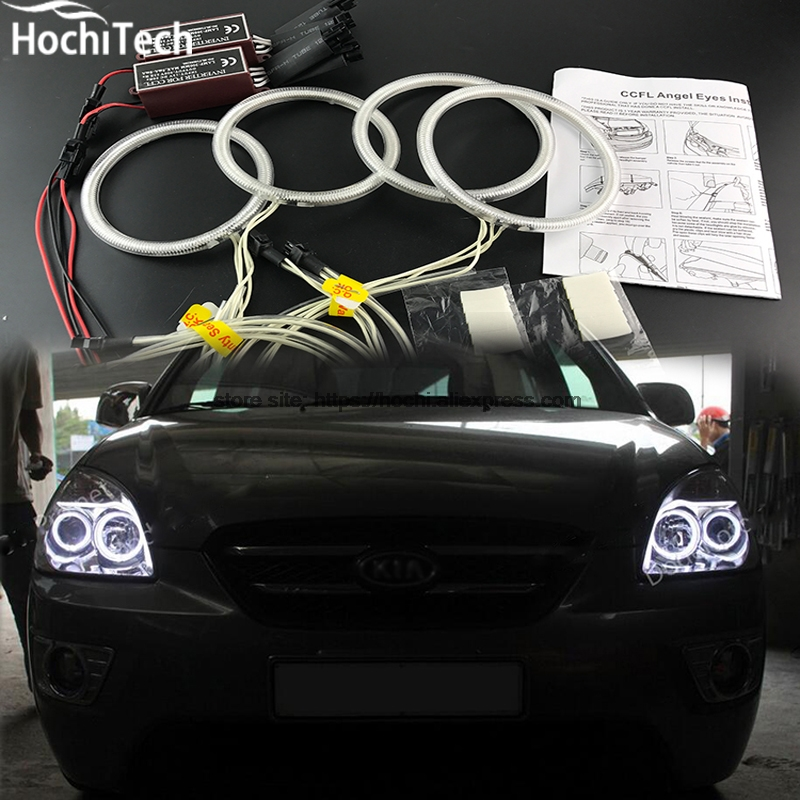 цена на HochiTech Excellent CCFL Angel Eyes Kit Ultra bright headlight illumination for Kia Carens Rondo 2006 2007 2008 2009 2010 2011