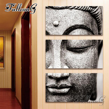 FULLCANG 3pcs/set diamond painting grey buddha icon triptych 5d diy mosaic cross stitch embroidery full square drill G1023