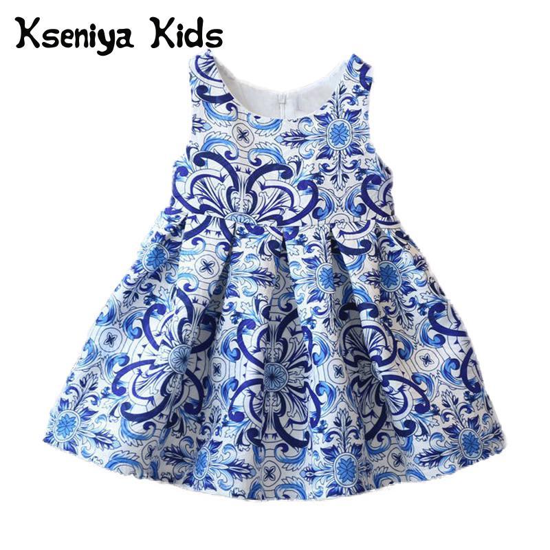 kseniya kids girls party children blue dress cotton kids clothes children clothing kids dresses for girls sleeveless 2-12y