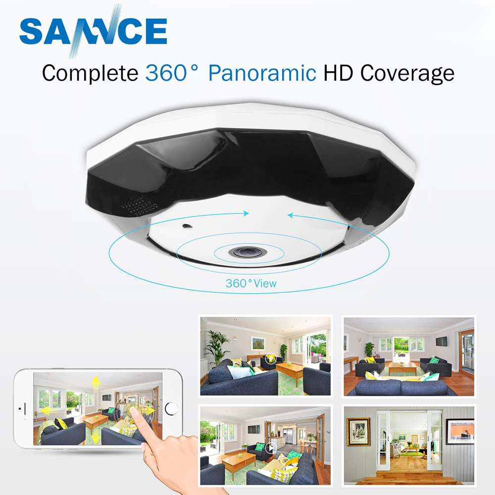 SANNCE 3.0MP Video IP Camera 360 Degree Panoramic Wifi Security Camera Two Way Audio Digital Wireless PTZ WebCam