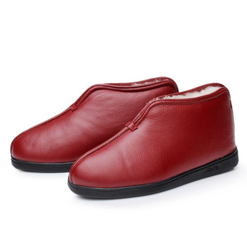 2019 겨울 정품 가죽 신발 양모 노인 면화 부츠 여성 모피 한 겨울 신발 따뜻한 면화 짧은 부츠-에서앵클 부츠부터 신발 의  그룹 2