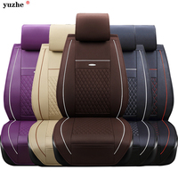 Leather Fabric Universal Car Seat Cover Set Red Car Styling Fit Most Car Interior Accessories Sedans