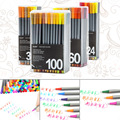 24/36/60/100 Colors 0.4mm Fineliner Marker Pen Water Based Assorted Ink Drawing Graffiti Hook Fiber With Hole Pouch Art Markers