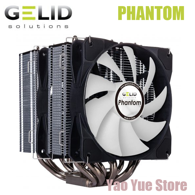 GELID PHANTOM PC 12mm AMD Intel CPU Heat Sink Radiator Fan processor Cooler Cooling Fan LGA 775 115X 1366 AM4 AM3 FM1 FM2 fan original soplay for amd all series intel lga 115x cpu cooler 4 heatpipes 4pin 9 2cm pwm fan pc computer cpu cooling radiator fan