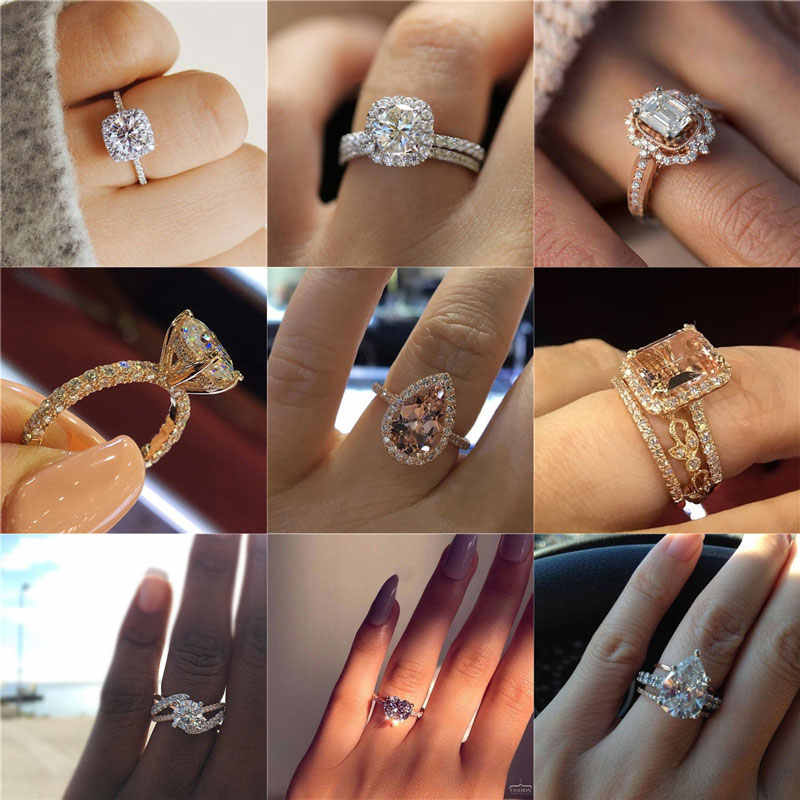 Modyle Classic Engagement Ring 6 Claws Design AAA White Cubic Zircon Female Wedding Band CZ Rings for Woman