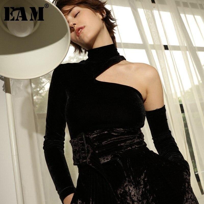 [EAM] Высокое качество 2018 осень-зима черная водолазка с длинным рукавом без бретелек Sexy Тонкий диких Топы Мода Новый Для женщин LA728
