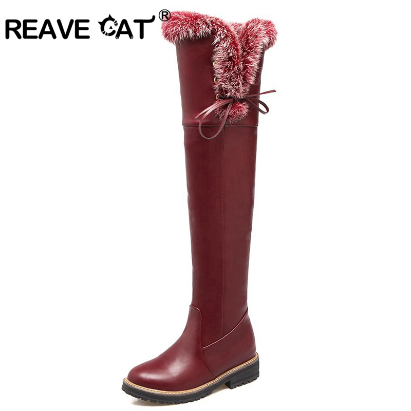 REAVE CAT Women boots Over the knee Ladies boots Round toe Fur Zipper PU Winter Warm