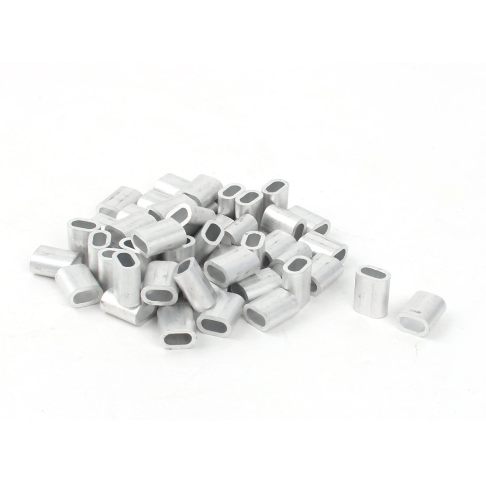 50 Pcs 3mm Diameter Steel Wire Rope Aluminum Ferrules Sleeves Clip Fitting Cable Crimps 9 x 6mm Silver Tone sharp kc 840e b