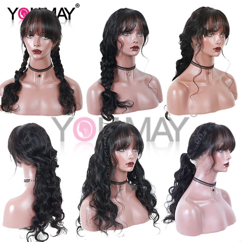 Body Wave 360 Lace Frontal Wig With Bangs Pre Plucked Baby Hair 180% Brazilian Lace Front Human Hair Wigs For Women Remy You May