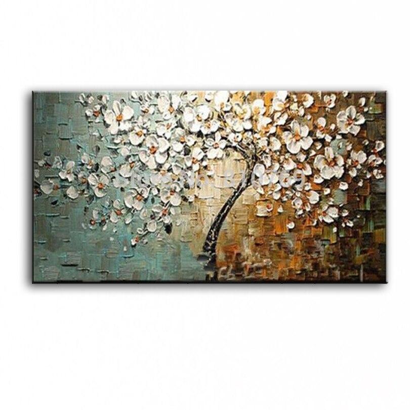 Новый ручной работы современный холст на холсте маслом палитры ножи дерево 3D цветы картины дома Гостиная Декор стены книги по искусству 168022