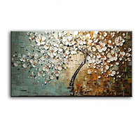 New Handmade Modern Canvas On Oil Painting Palette Knife Tree 3D Flowers Paintings Home Living Room
