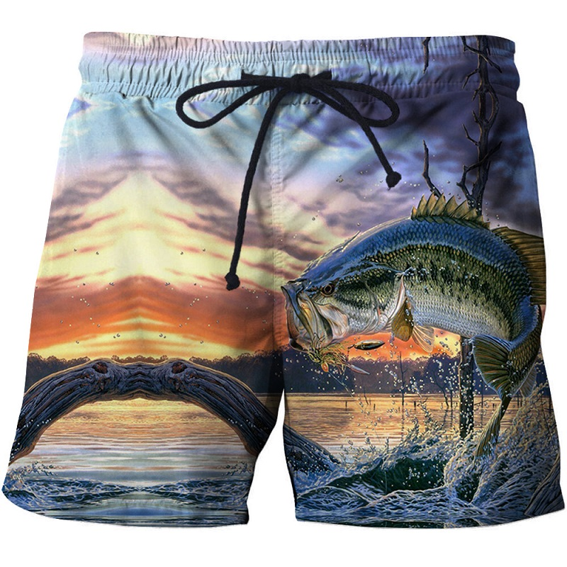 Fish 3 d printing clothing 3d digital beach pants interesting fishhook printing big size   board     shorts     short   plage homme   short