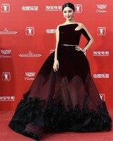 Vestido De Festa Burgundy Sheer See Through Long Sleeves Red Carpet Dresses Big Skirt Evening Dress