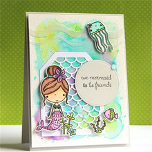 Eastshapa Sea World Creature Stamps and Cutting Dies Card Album Decorative Clear Stamp Mermaid 2019 Newl 14Pcs/Lot 14*14cm