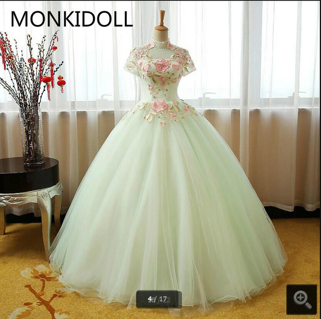 0365c9d85c Vestido De Novia vestido de bola verde lima baratos vestidos de baile de  alta cuello y